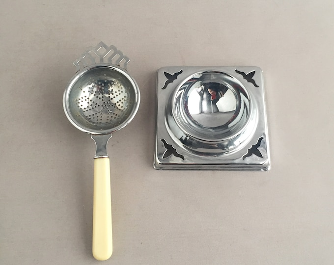 Silver Plated Tea Strainer and Drip Tray