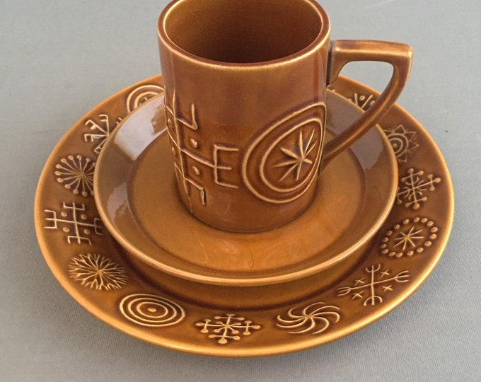 Portmeirion totem brown coffee cup, saucer and cake plate