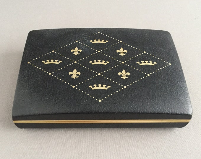 1950s leather embossed travel jewellery box