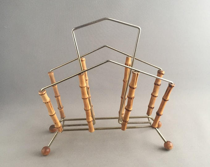 1950s bamboo and brass magazine rack