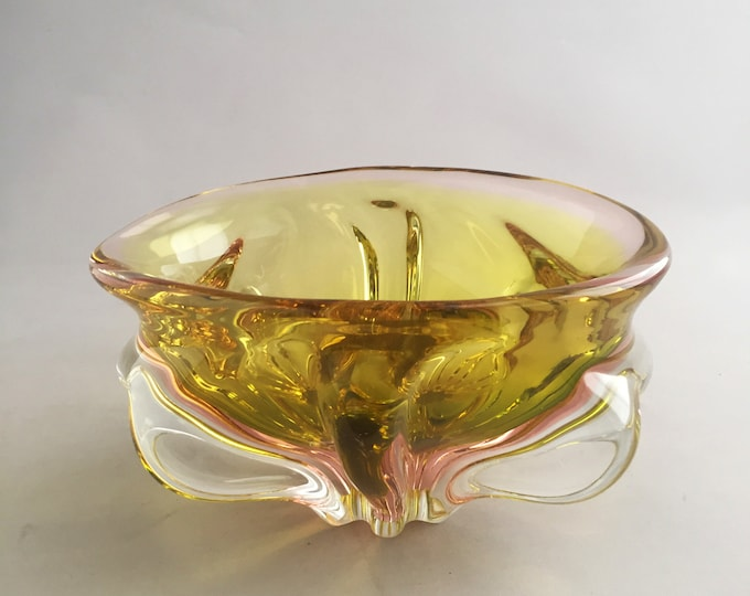 Glass Bowl by Josef Hospodka for Chribska Sklarna, 1970s