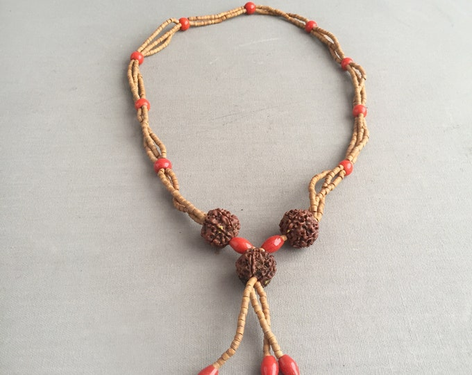 Rudraksha necklace with wooden and red glass beads