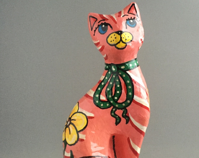hand painted paper mache cat