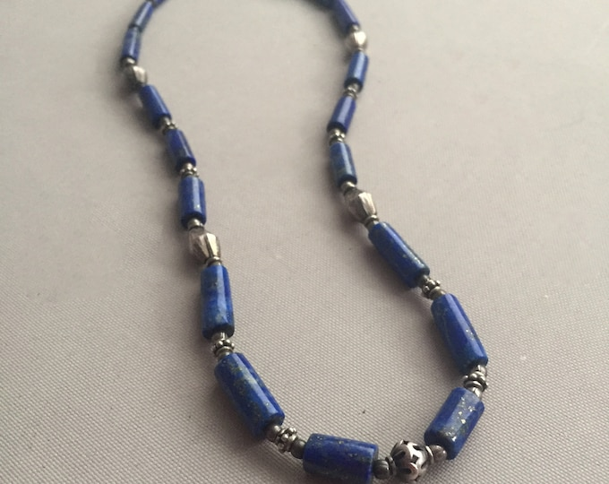 Lapis lazuli Necklace with silver bead