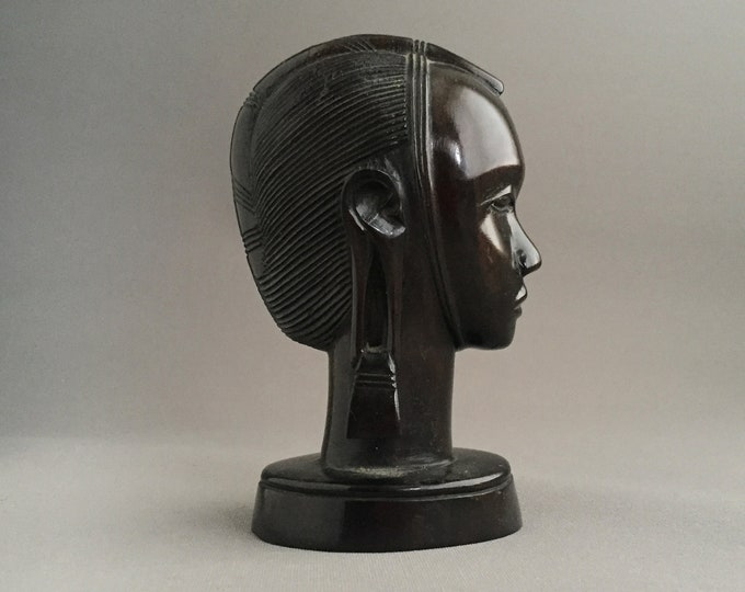 ebony wood carved head