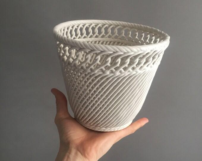 Italian White Ceramic Cachepot by Società Ceramica Italiana Laveno, 1950s
