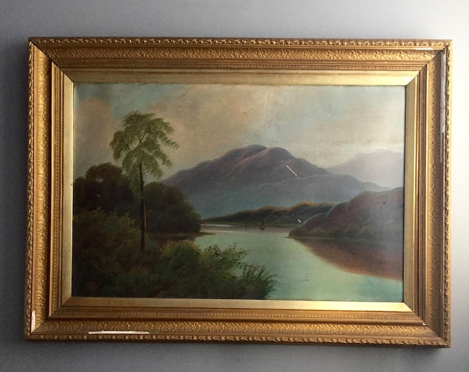 old oil landscape in gold frame