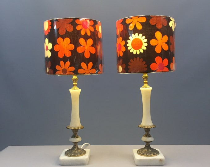 marble and brass bedside lamps pair