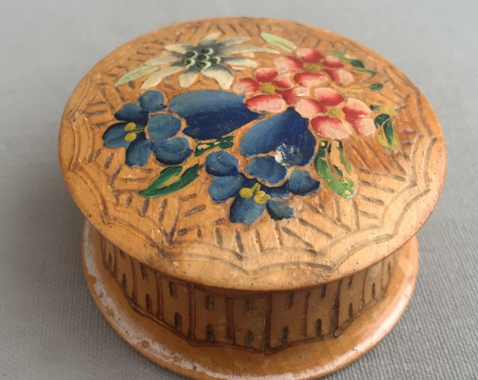 little wooden hand painted trinket box