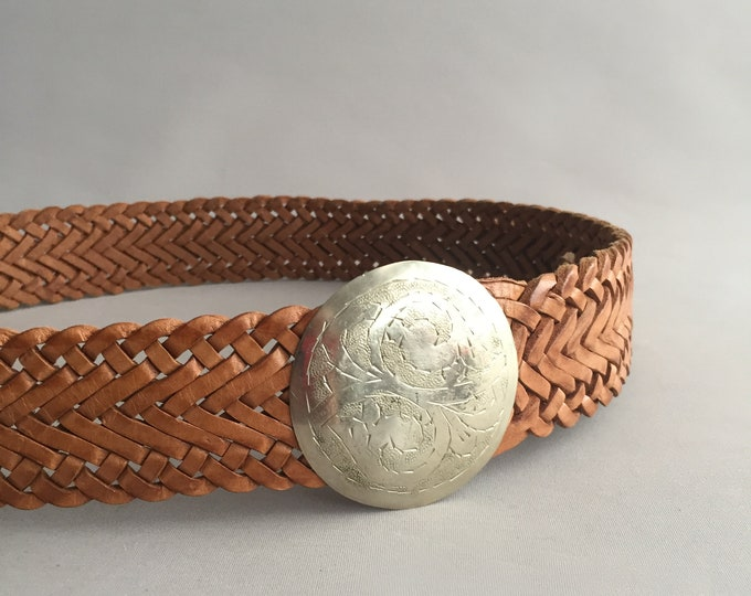 woven moroccan leather belt with metal engraved buckle