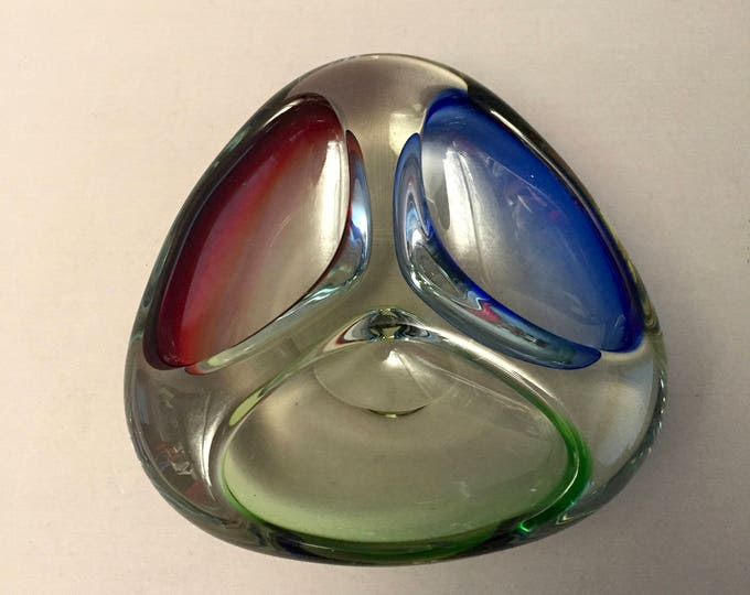 Murano glass ashtray three colour glass
