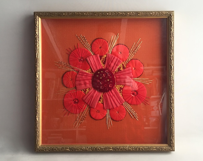1960s applique framed picture