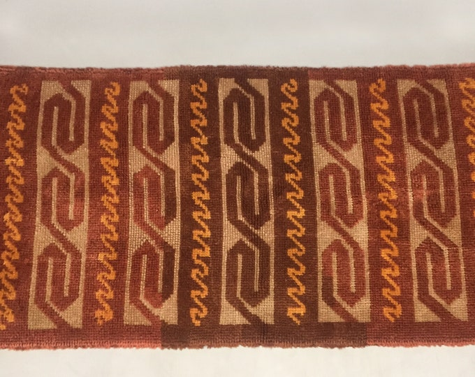1960s pure wool latch hook rug