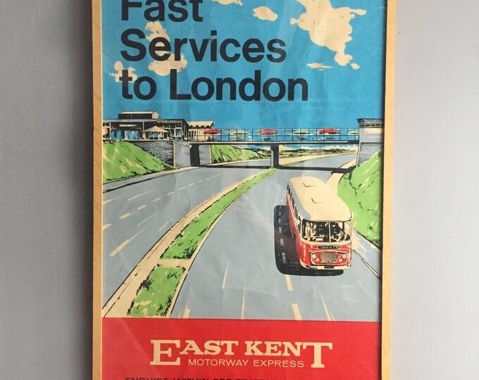 Original 1950s East Kent bus travel poster, framed