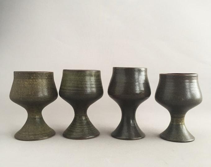 1970s ceramic handmade goblets