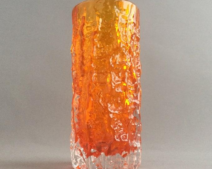 Tangerine Whitefriars bark vase
