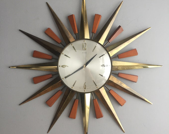 1960s star burst clock by Metamec England
