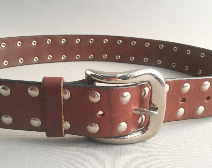 chunky leather studded belt