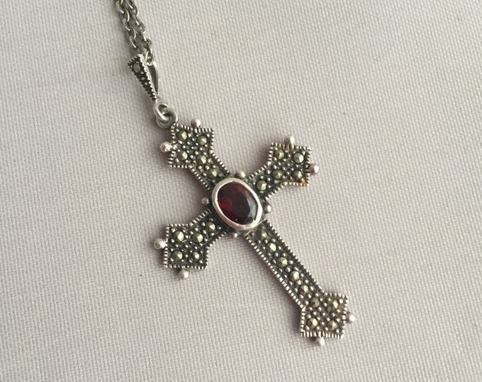 silver cross with marquisette and garnet