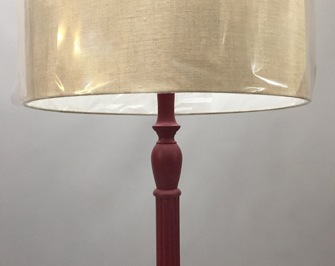 wooden Floor lamp with linen shade