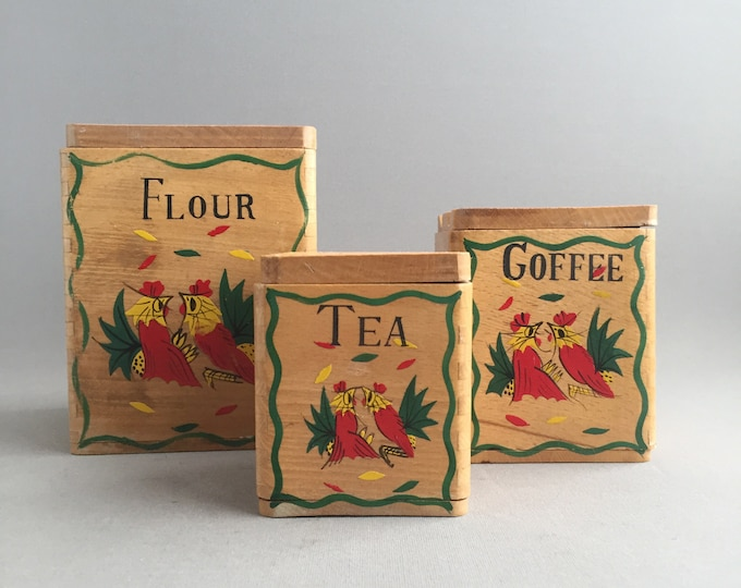 1950s wooden canister set