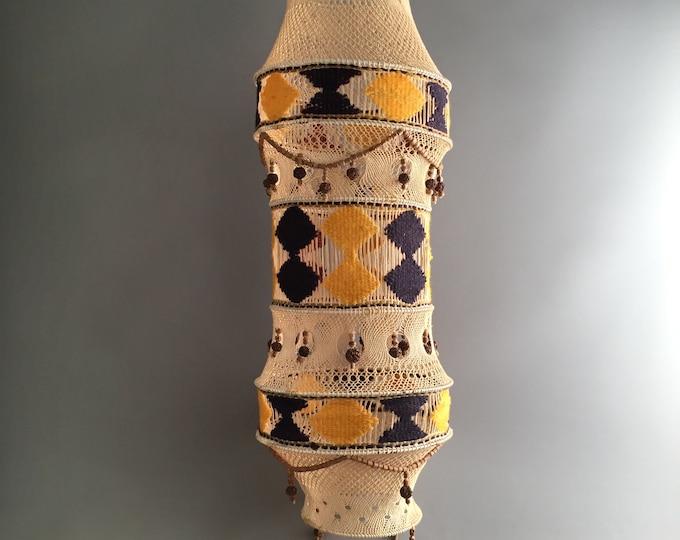 1970s macrame / crochet woven lamp shade