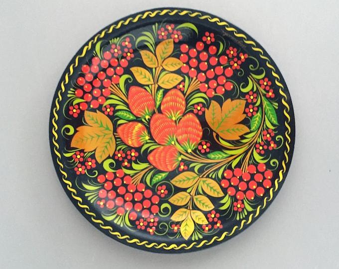 Folk painted wooden plate /Ukrainian/ Petrykivka / Decorative plate