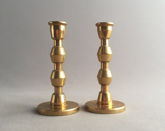 pair of Deco solid brass candle stick holders