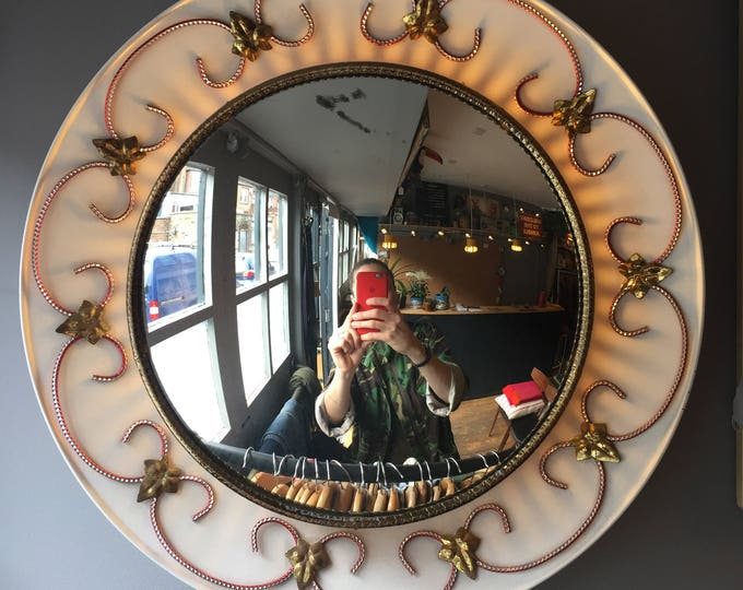 1950s Kitsch convex mirror light