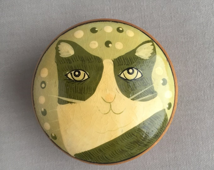 wooden pill box with painted cat lid