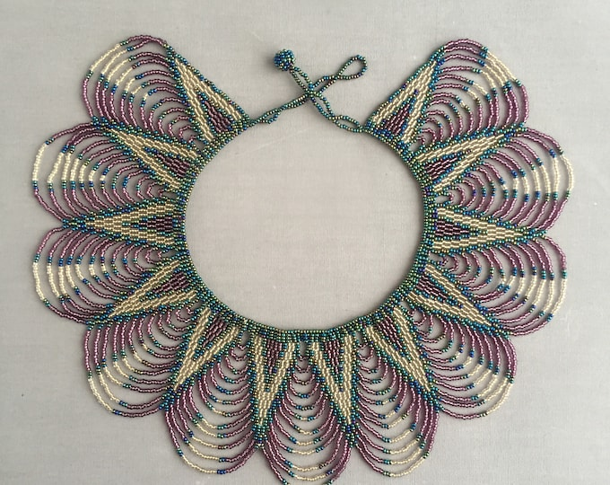 deco style beaded collar necklace
