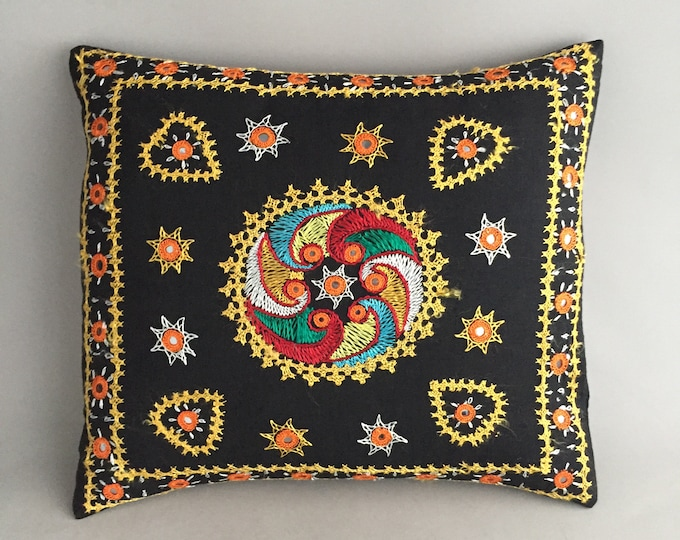 embroidered black linen cushion cover