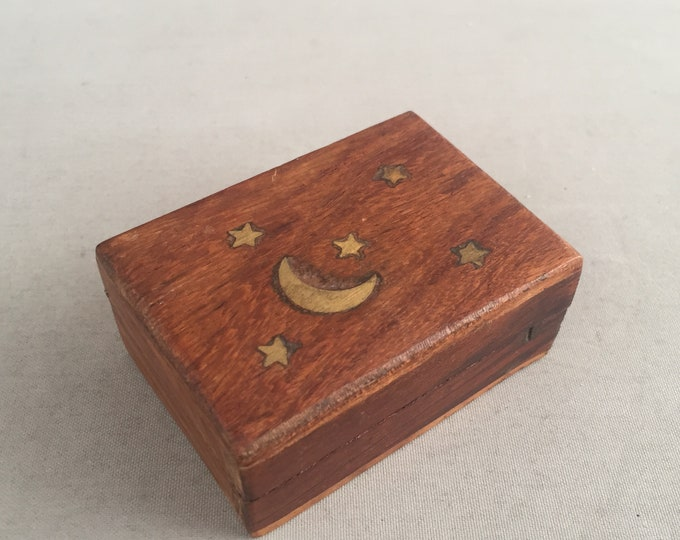 little wood box with moon and stars inlayed