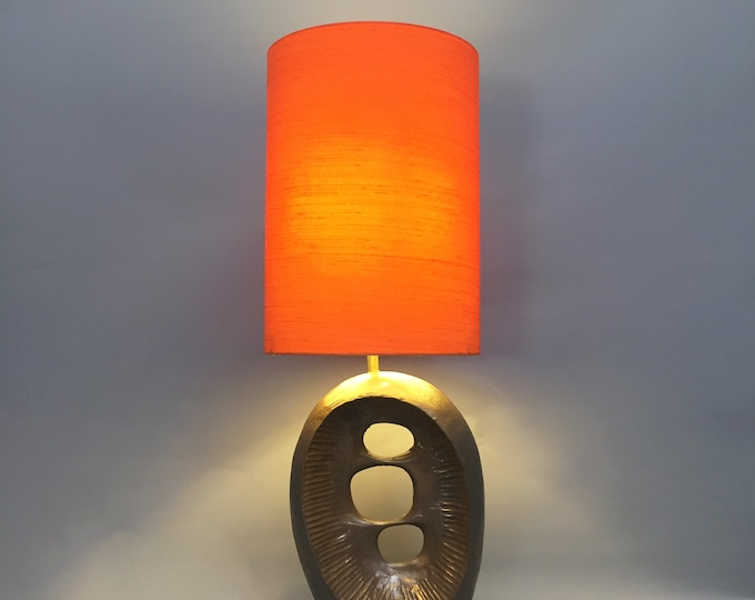1960s bronzed resin abstract table lamp with silk shade