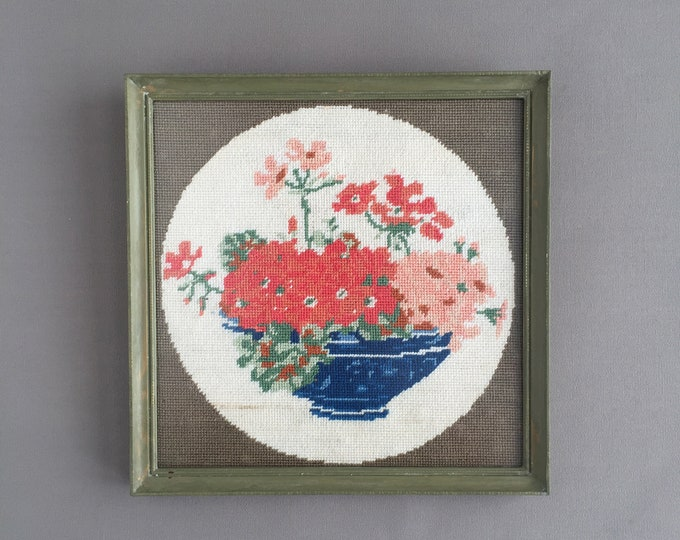 framed needle point picture