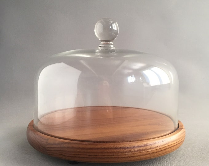 retro teak and glass cheese dome