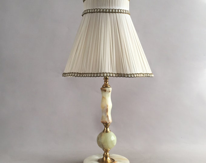 1950s onyx table lamp and shade
