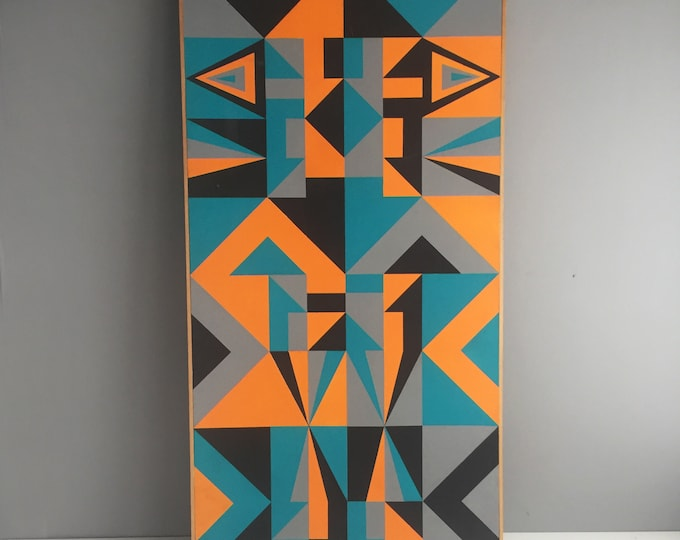 Original geometric painting on board Clifford Myerson 1985