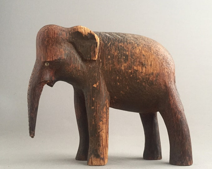 Old wooden carved indian elephant
