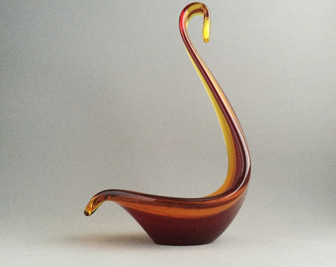 murano glass swan dish