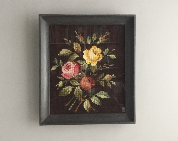 framed needle point rose picture