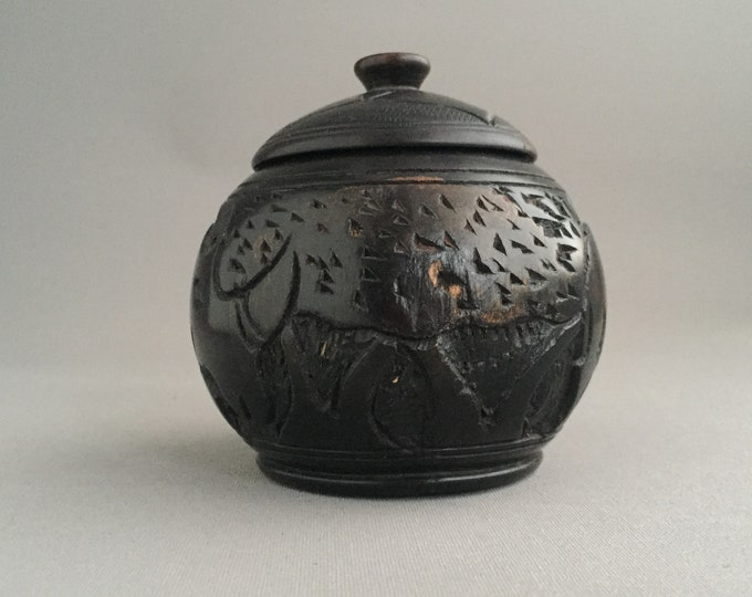 ebony carved lidded jar/pot