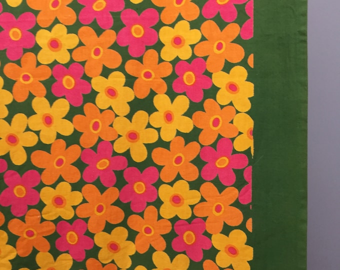 1960s cotton flower power table cloth