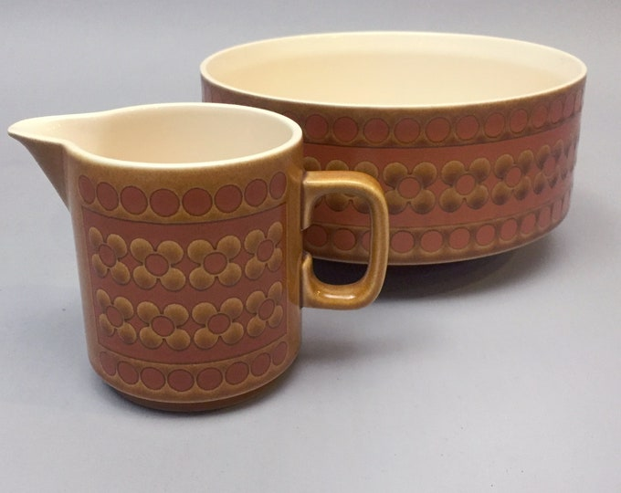 Hornsea pottery' Saffron' bowl and jug