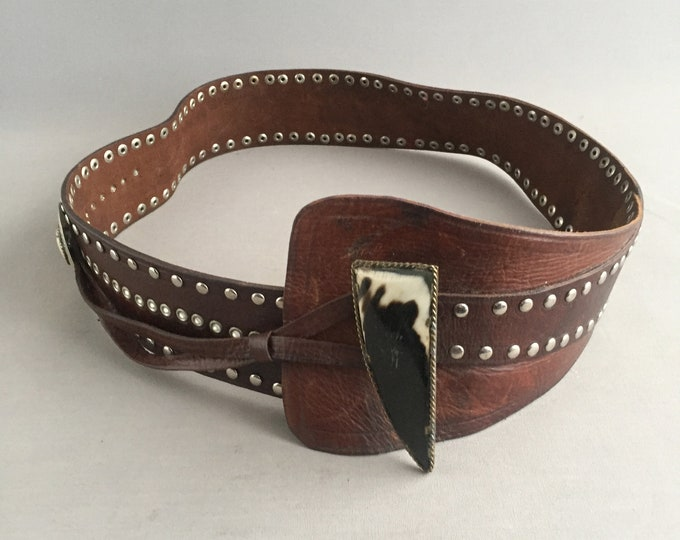 Hand made leather and cow horn belt