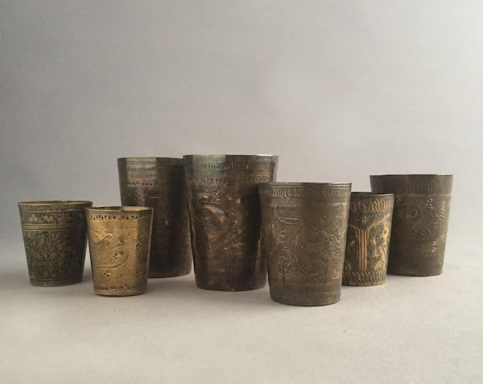 set of 7 Vintage brass Lassi Cup, Engraved Indian Brass