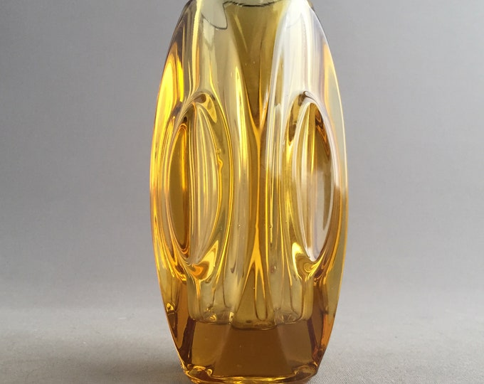 1950s amber Sklo union lens vase