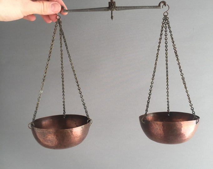 vintage copper hanging scales
