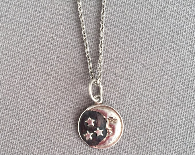 Moon and stars silver pendant