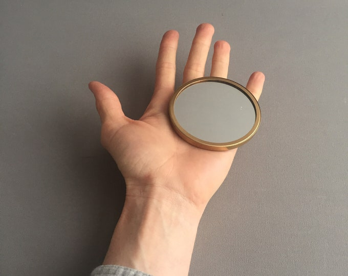 1950s embroidered mirror compact mirror